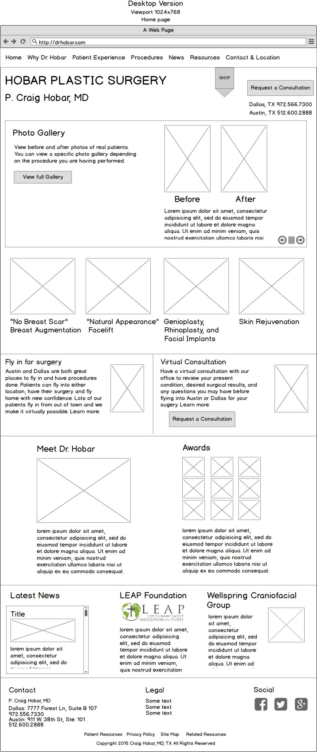 dr-hobar-wireframe - home page