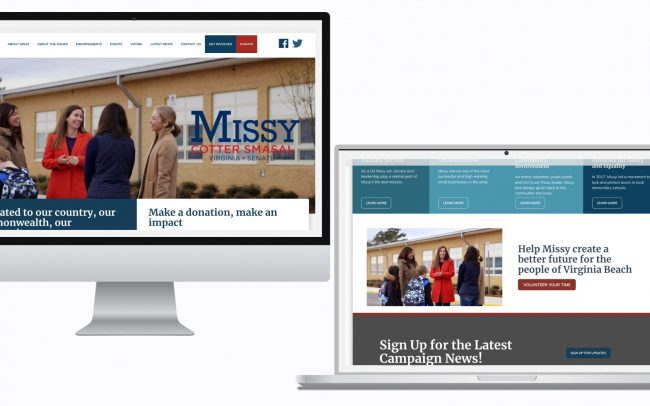 Missy for senate site screenshots